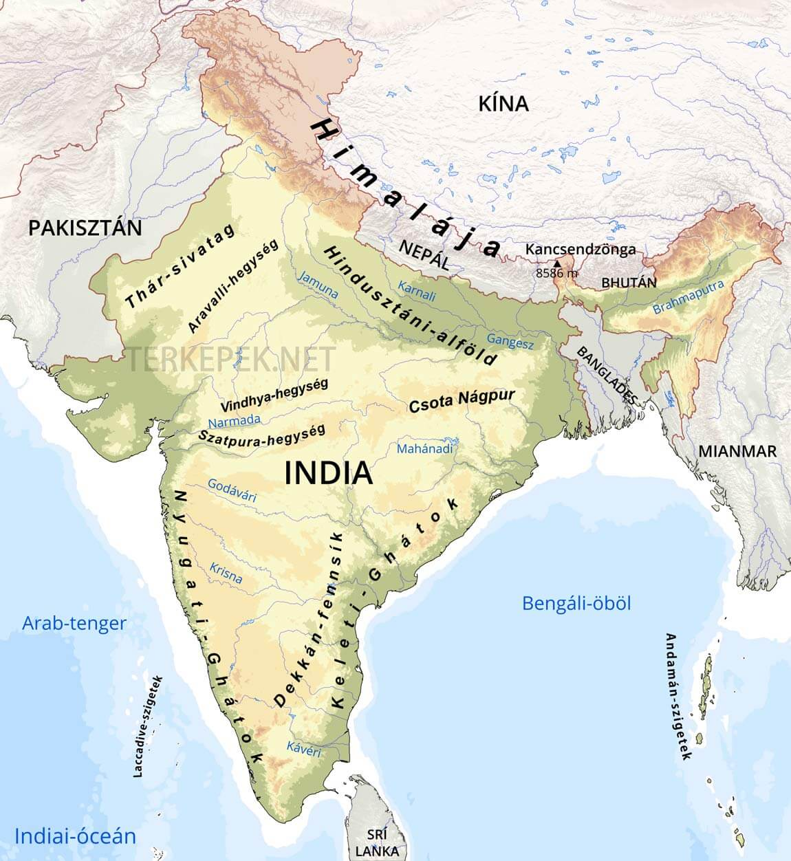 india térkép India domborzati térképe india térkép